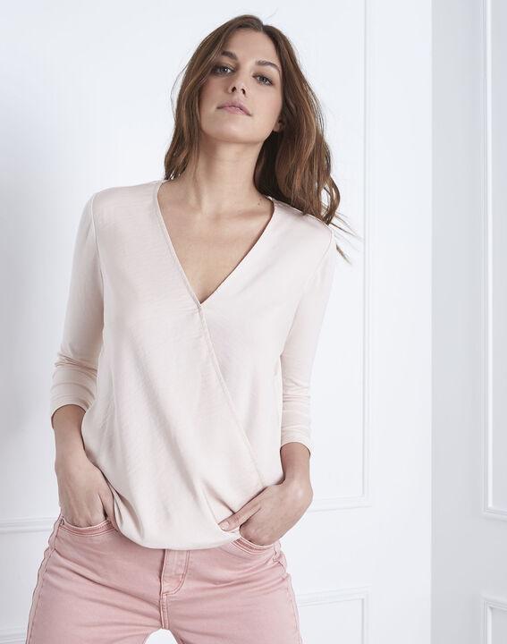 Puderfarbene Bluse aus zwei Materialien in Wickelform Vanina (2) - Maison 123