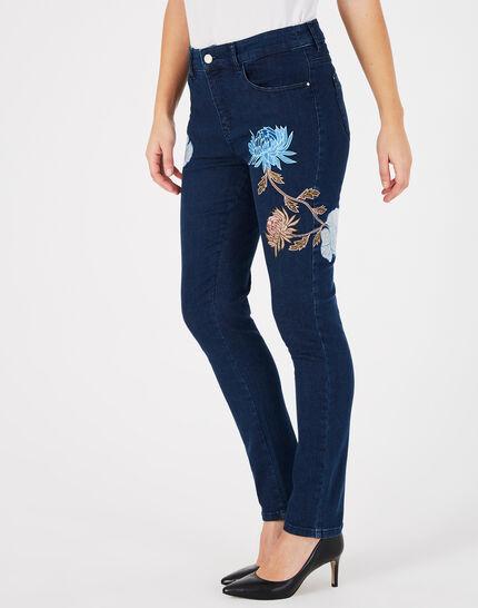 Indigoblaue bestickte 7/8-Jeans Noémie (3) - 1-2-3