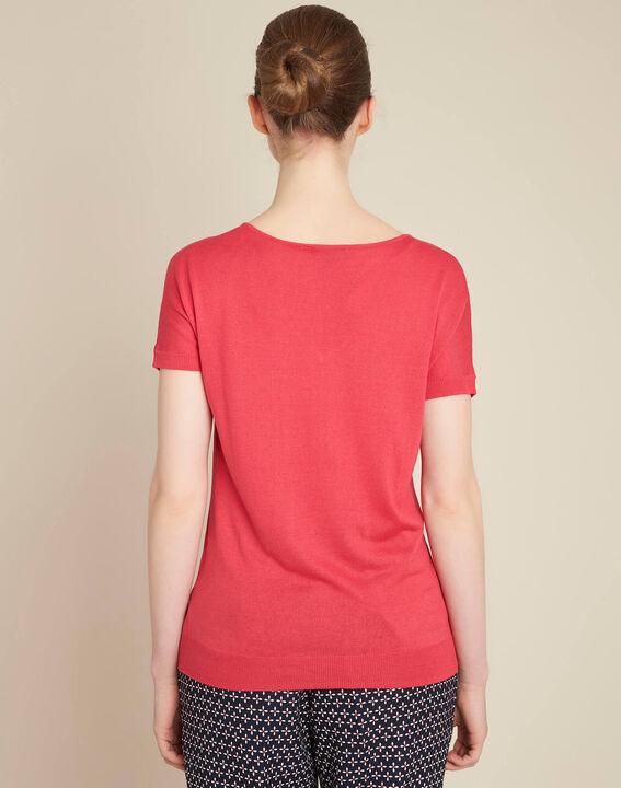 Fuchsia trui van dun tricot met opengewerkte halsopening Never (4) - 37653