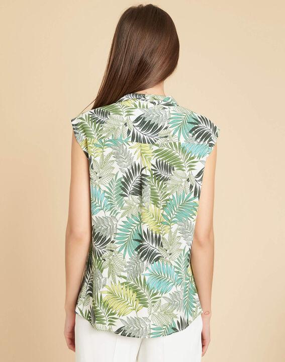 Ärmellose grüne Hemdbluse mit Palmenmotiv Galion (4) - 1-2-3