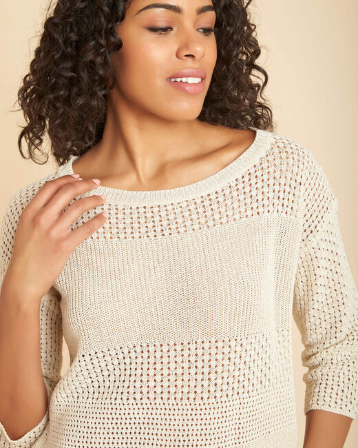 Nirvana golden shiny sweater in an openwork knit (2) - 1-2-3