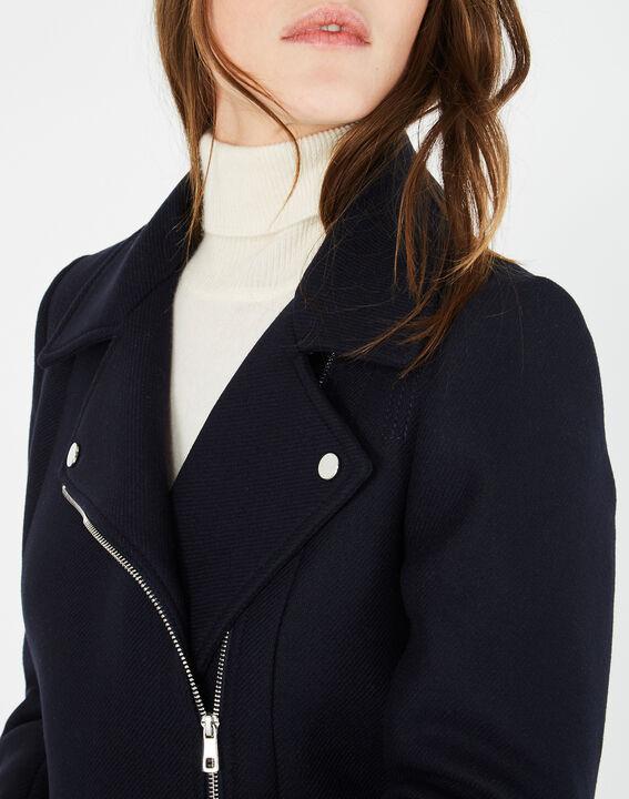 Manteau bleu marine en laine mélangée Oryanne (4) - 1-2-3