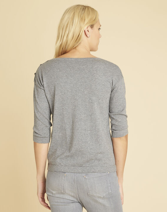 Betty grey sweater with decorative detailing on the shoulders (4) - Maison 123