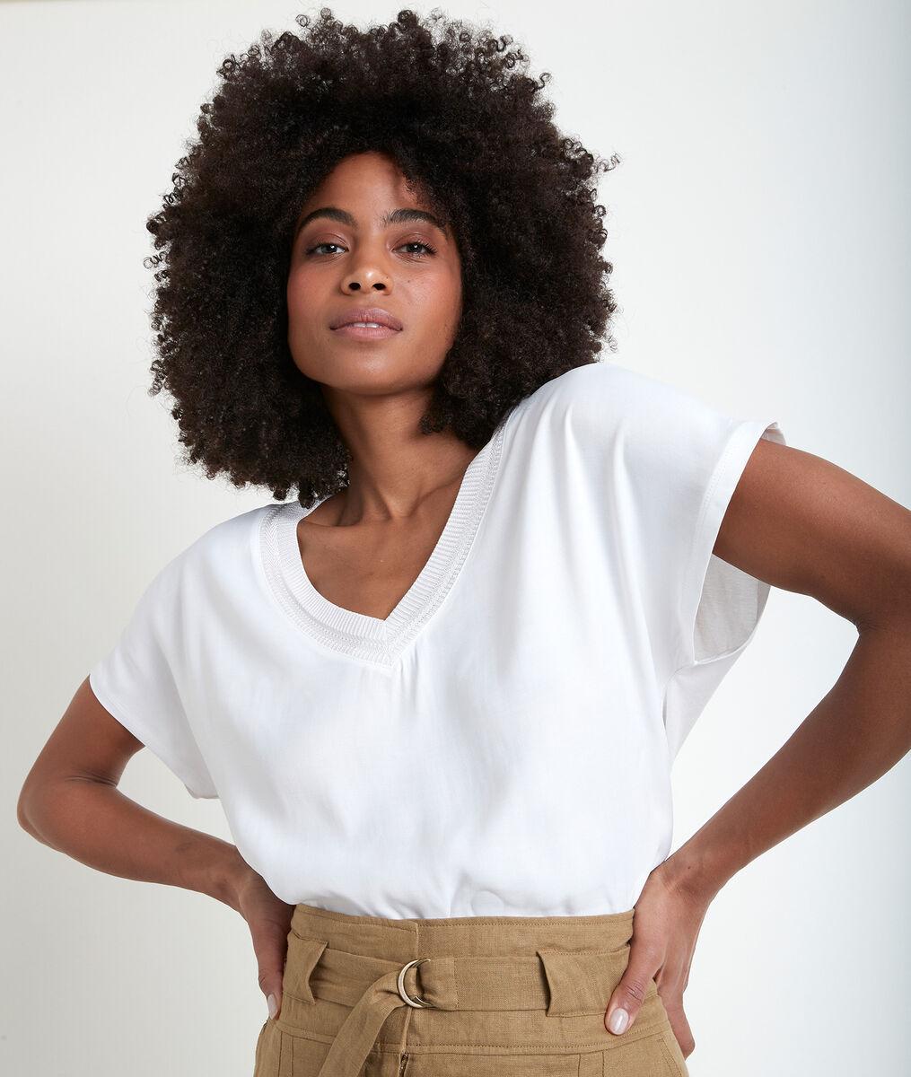 Tee-shirt écru bimatière Wicky PhotoZ | 1-2-3