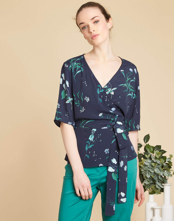Danielle navy blue blouse with floral print and cross-over neckline (3) - 1-2-3
