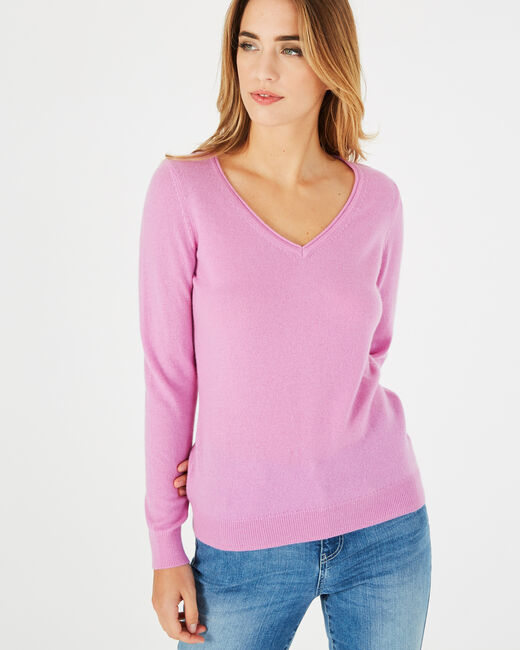 Pivoine lilac V-neck sweater in cashmere (1) - 1-2-3