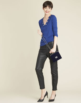 Blauw shirt met v-hals en gaatjes basic bleu moyen.