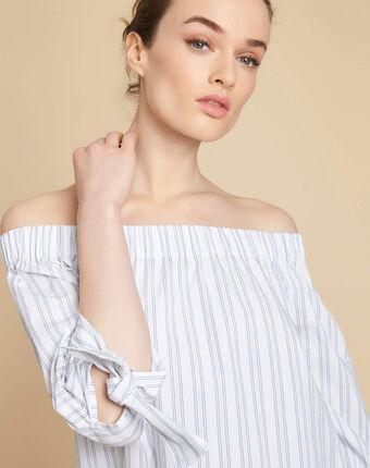 Gestreepte blouse met blote schouders emilie blanc.