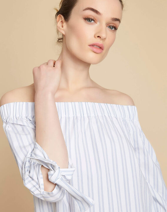 Emilie off-the-shoulder striped blouse PhotoZ | 1-2-3