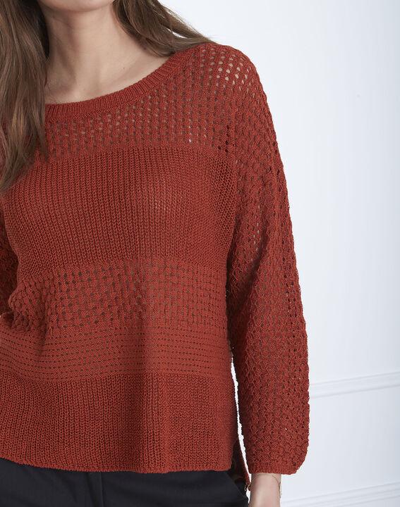 Pull acajou maille fantaisie coton lin Alesia (3) - Maison 123