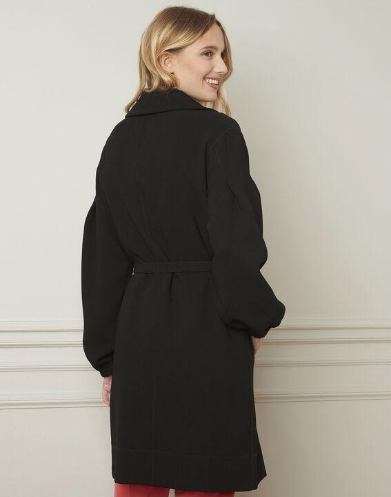 Manteau noir ceinturé manches resserrées Diva (3) - Maison 123