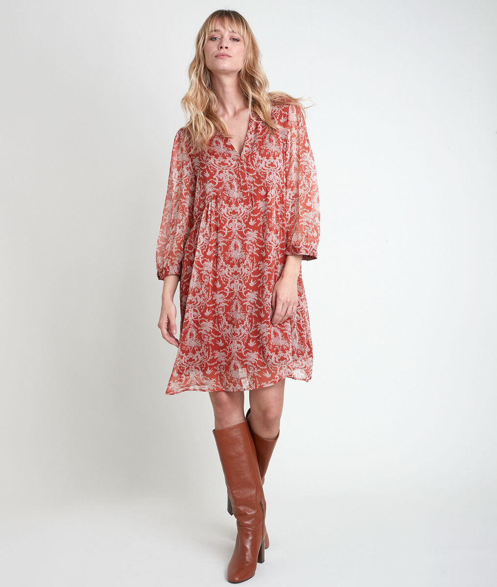 Robe orange imprimée Calypso PhotoZ | 1-2-3