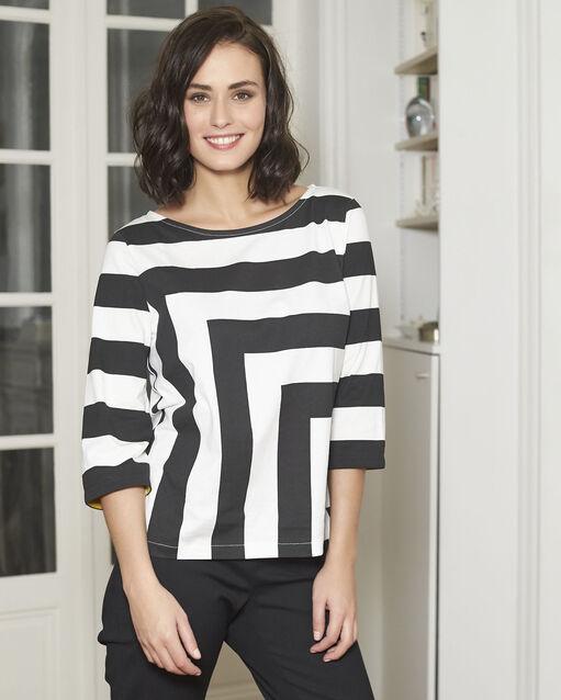 Tee-shirt noir à rayures Galinette (1) - 1-2-3