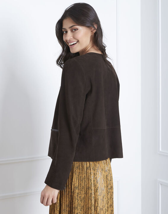 Thea suede jacket in chestnut brown (4) - 1-2-3