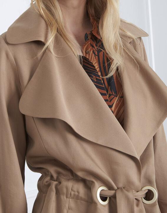Fließende, beigefarbene Jacke mit Ösen-Detail Felicita (3) - Maison 123