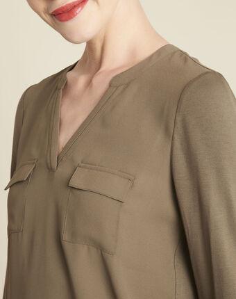 Khakifarbenes t-shirt im materialmix mit tunika-kragen genna kaki.