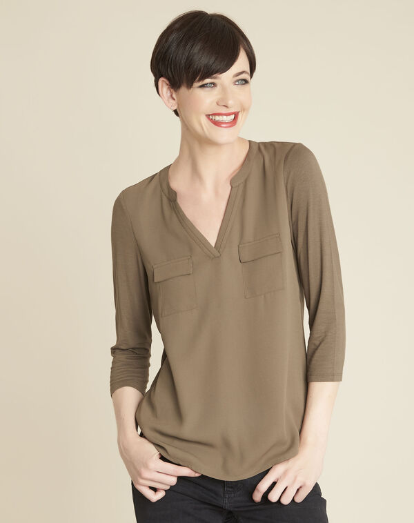 Genna V-neck khaki dual-fabric blouse (1) - 1-2-3