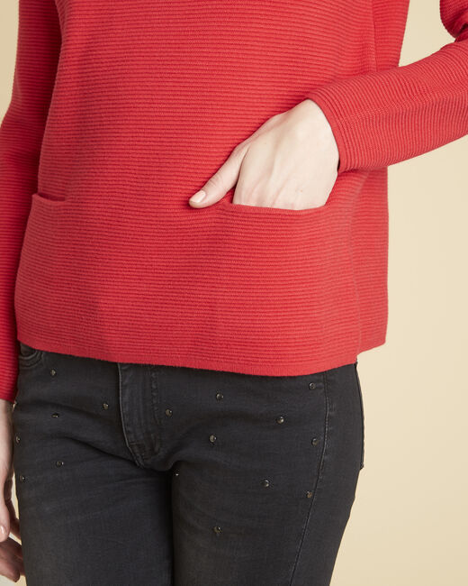 Belize fine-knit red sweater with high collar (2) - 1-2-3
