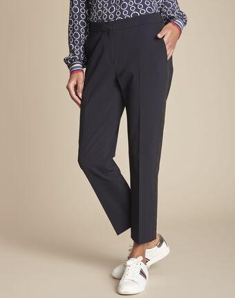 Pantalon de tailleur marine et sa bande latérale suzanne marine.