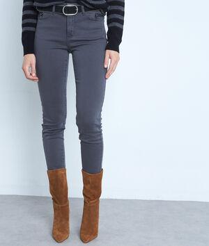 Jean slim en coton gris détail zip Nateo