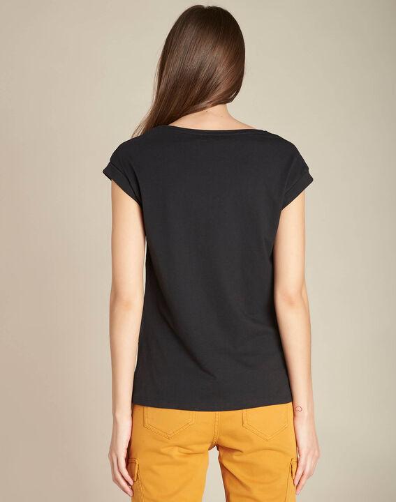 Schwarzes T-Shirt mit Bananen-Print Ejungle (4) - 1-2-3