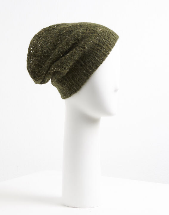 Ursula khaki hat with decorative stitches (3) - Maison 123