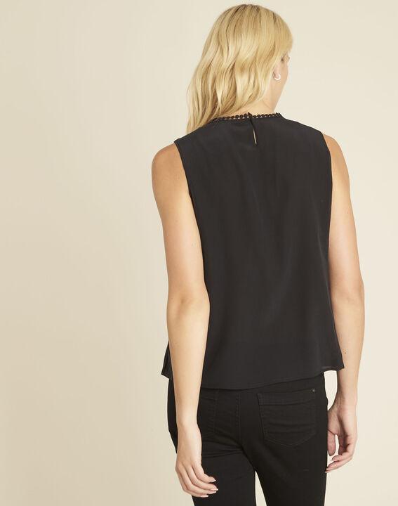 Zwarte top van zijde met kanten halsopening Corinne (4) - 37653