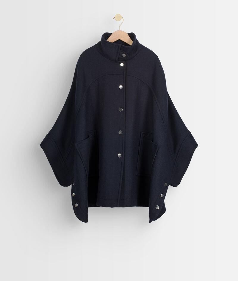 Marineblauwe elegante cape van wol PhotoZ | 1-2-3