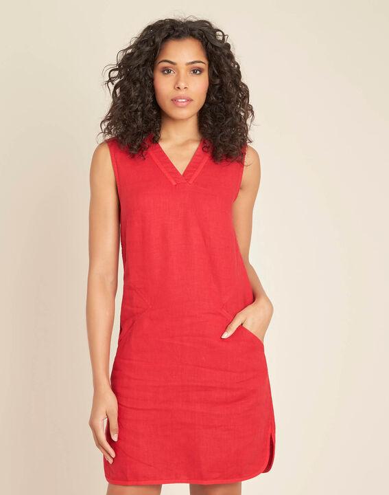 Pim red linen dress (3) - 1-2-3