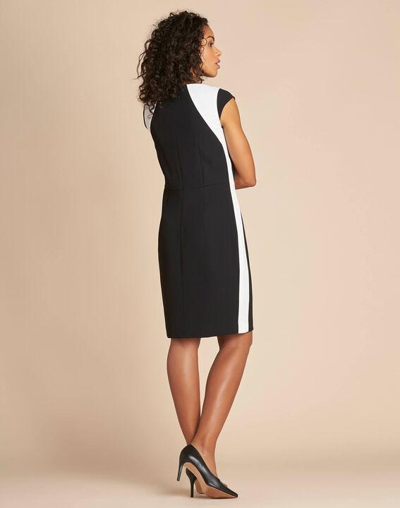 Robe noire droite en crêpe Abricot (3) - 1-2-3