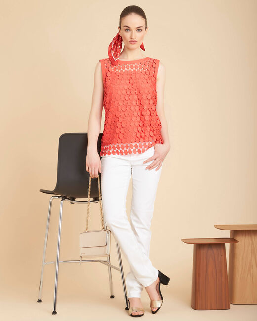 Guimauve coral top with openwork lace detailing (2) - 1-2-3