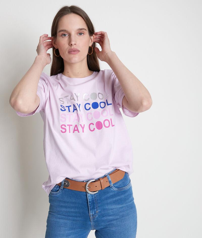 Tee-shirt en coton bio à message parme Eliott PhotoZ | 1-2-3