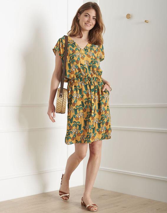 Robe jaune imprimé ananas Lulano (2) - Maison 123