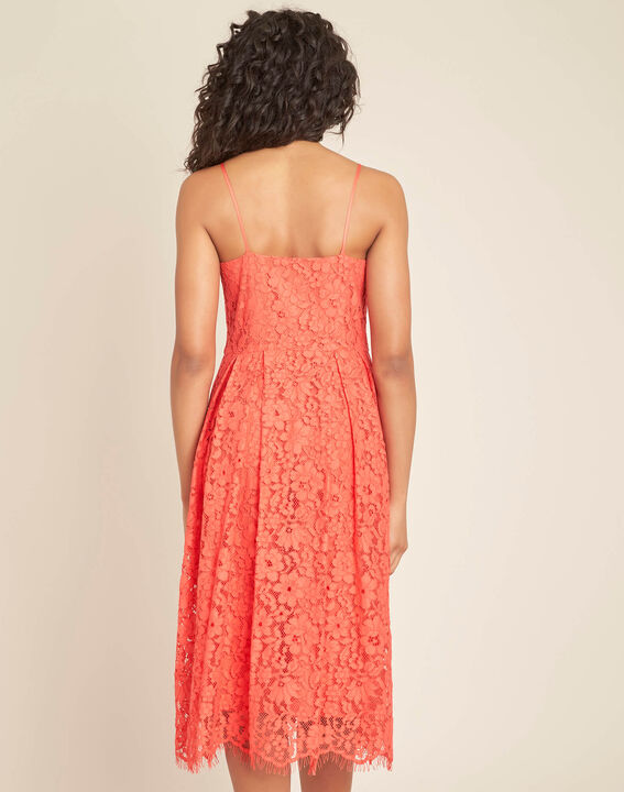 Ibiscus coral mid-length dress in lace (4) - 1-2-3