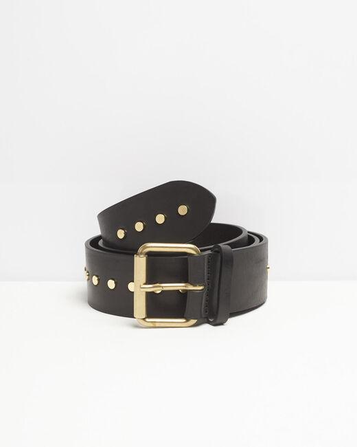 Breiter schwarzer Ledergürtel mit Nieten Rock (1) - 1-2-3
