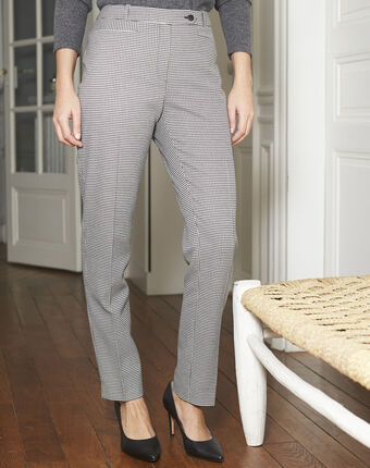 Valero cigarette pants with houndstooth print black/white.