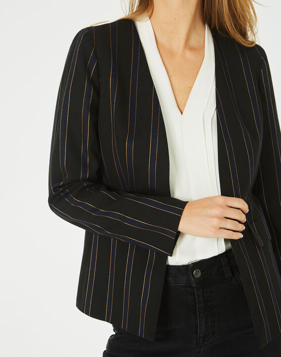 Maud navy blue and black striped tailored jacket (3) - 1-2-3