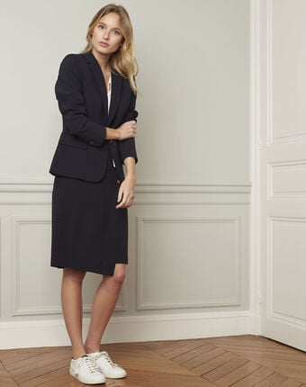 Eve navy tailored microfibre jacket navy.