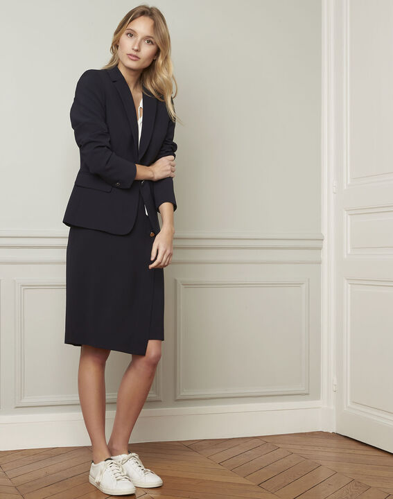Eve navy tailored microfibre jacket (2) - Maison 123
