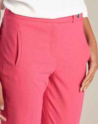 Lara red slim-cut fitted trousers light fuchsia.