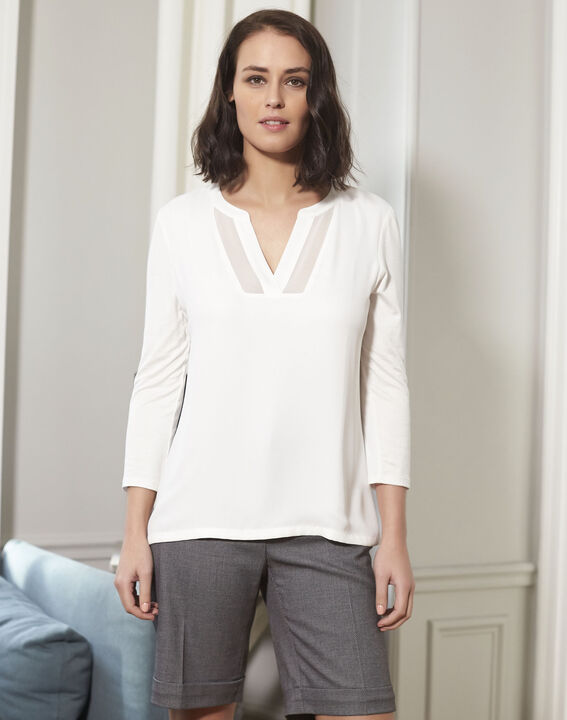 Ecrufarbene Bluse aus Bimaterial mit V-Ausschnitt Bianca PhotoZ | 1-2-3