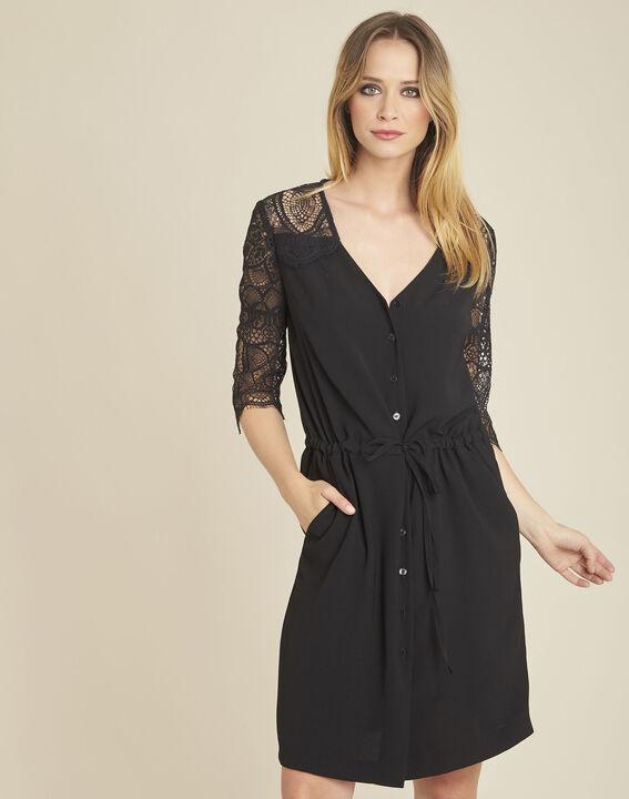 Zwarte jurk uit twee stoffen met mouwen van kant Dune (1) - 37653