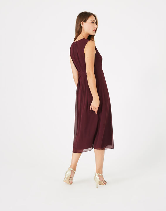 Robe plissée grenat Giselle (5) - 1-2-3