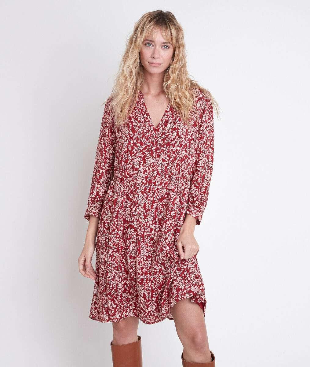 Robe rouge imprimée Calypso PhotoZ | 1-2-3