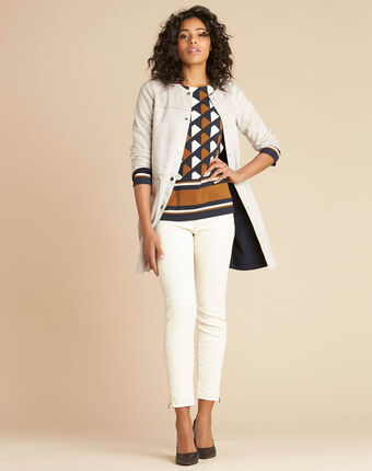Manteau long écru façon peau lainée fabiana ecru.
