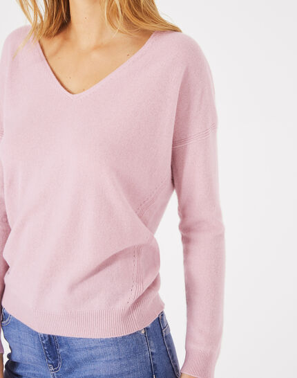 Piment pink cashmere sweater with V-neck (3) - 1-2-3