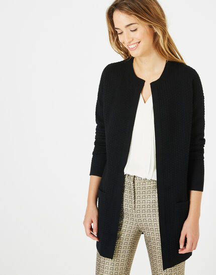 Pompom mid-length micro black jacket (2) - 1-2-3