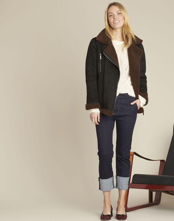 Navy straight-leg cotton-blend jeans (2) - Maison 123