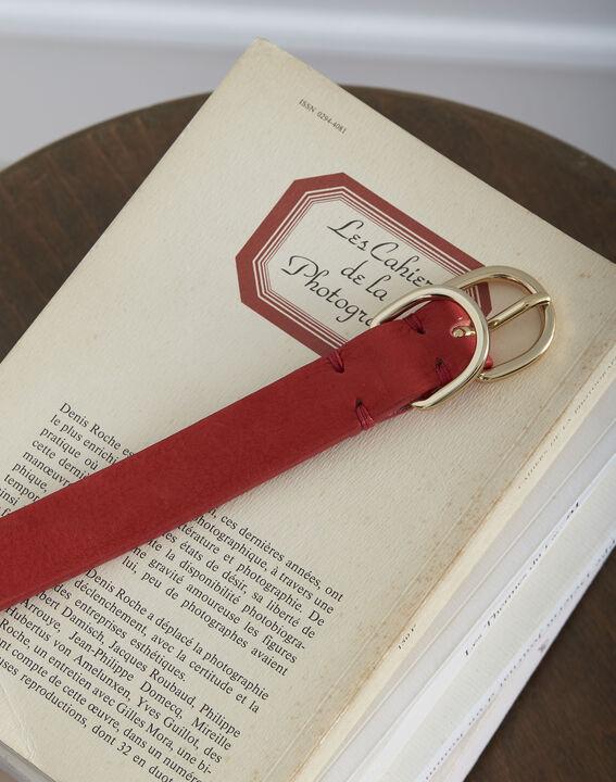 Rode riem met dubbele gesp van leer Quorentin (2) - Maison 123