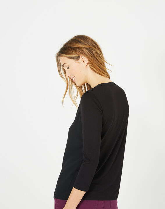 Bianca black T-Shirt with granddad neckline and 3/4 length sleeves (5) - 1-2-3
